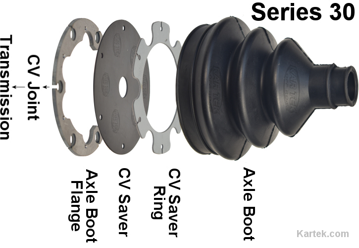 kartek off road series 30 single axle boot flange with agm cv joint saver