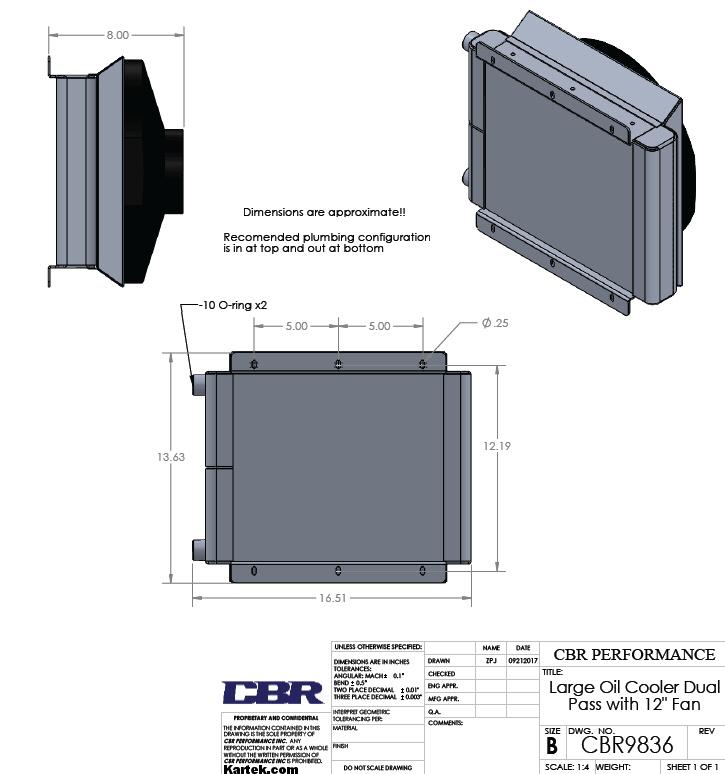 oil cooler dimensions