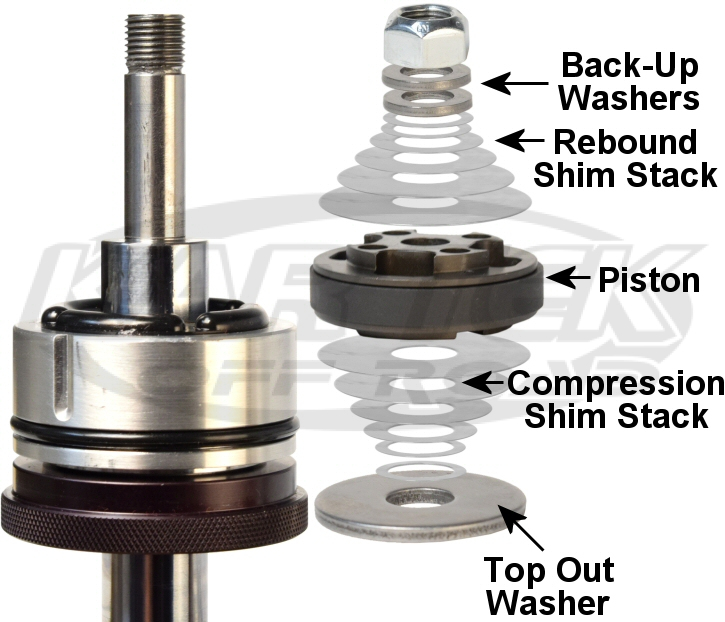 Fox shocks rebound and compression shim stack exploded view