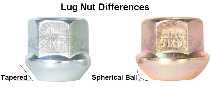 Tapered lug nuts versus spherical ball socket lug nuts