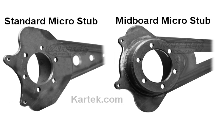What is the difference between standard micro stub disc brake kits and mid-board micro stub disc brake kits?